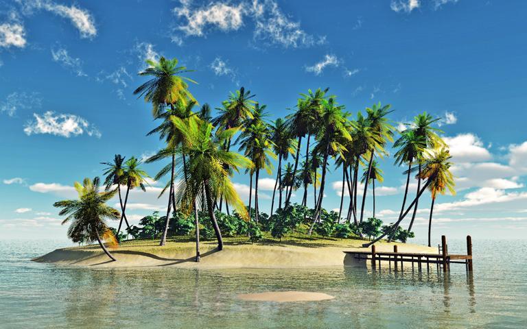 Reif für die Insel!? - Symbolisches Foto zum Thema Burnout, das eine kleine Insel mit Palmen zeigt