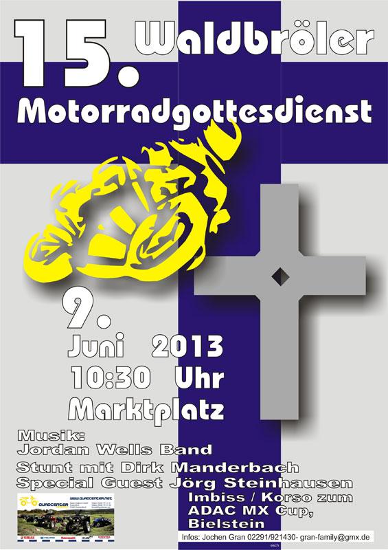 Plakat zum 15. Motorradgottesdienst in Waldbröl