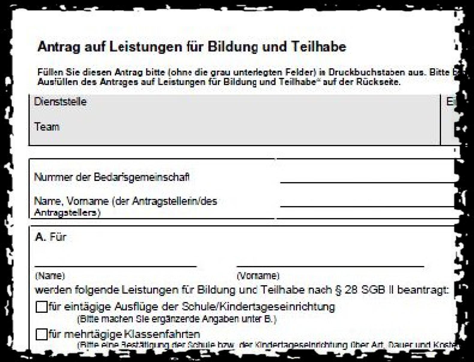 Formular-Ausriss des Antrags auf Leistungen für Bildung und Teilhabe