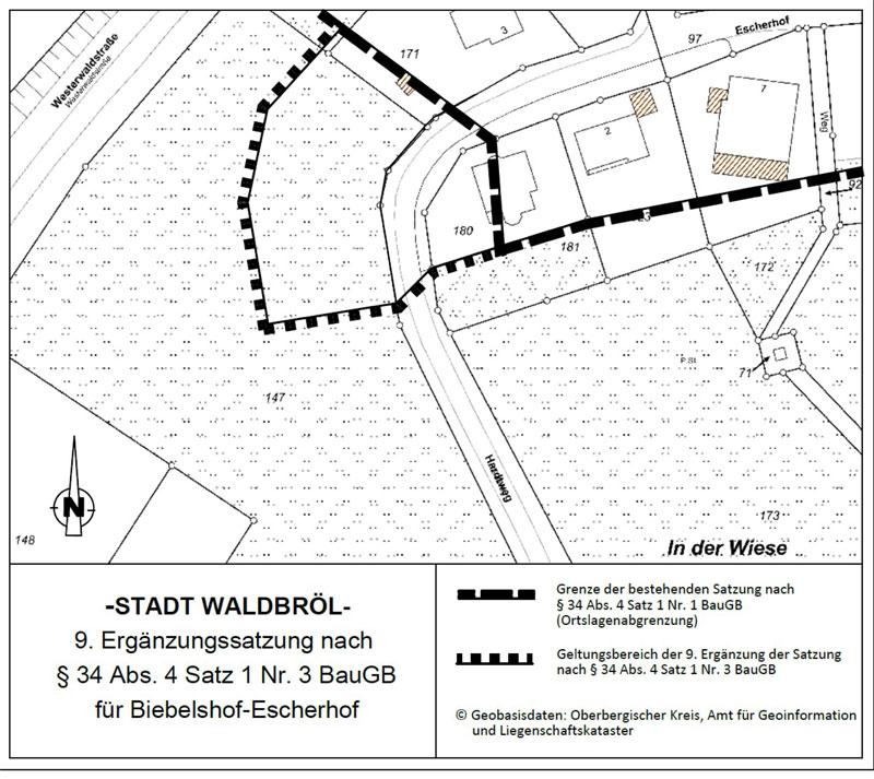 9. Ergänzung der Satzung nach § 34 Abs. 4 Satz 1 Nr. 3 Baugesetzbuch (BauGB) für den im Zusammenhang bebauten Ortsteil Waldbröl-Biebelshof/Escherhof, Hardtweg