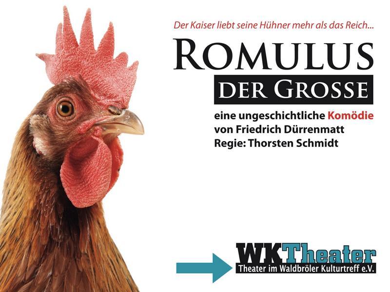 Plakat zum Theaterstück Romolus der Große