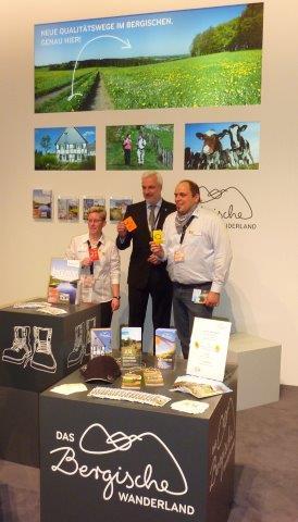 Foto (v.l.): Maren Pussak (Das Bergische gGmbH), Garrelt Duin (Minister für Wirtschaft, Energie, Industrie, Mittelstand und Handwerk in NRW), Mathias Derlin (Geschäftsführer Das Bergische gGmbH)