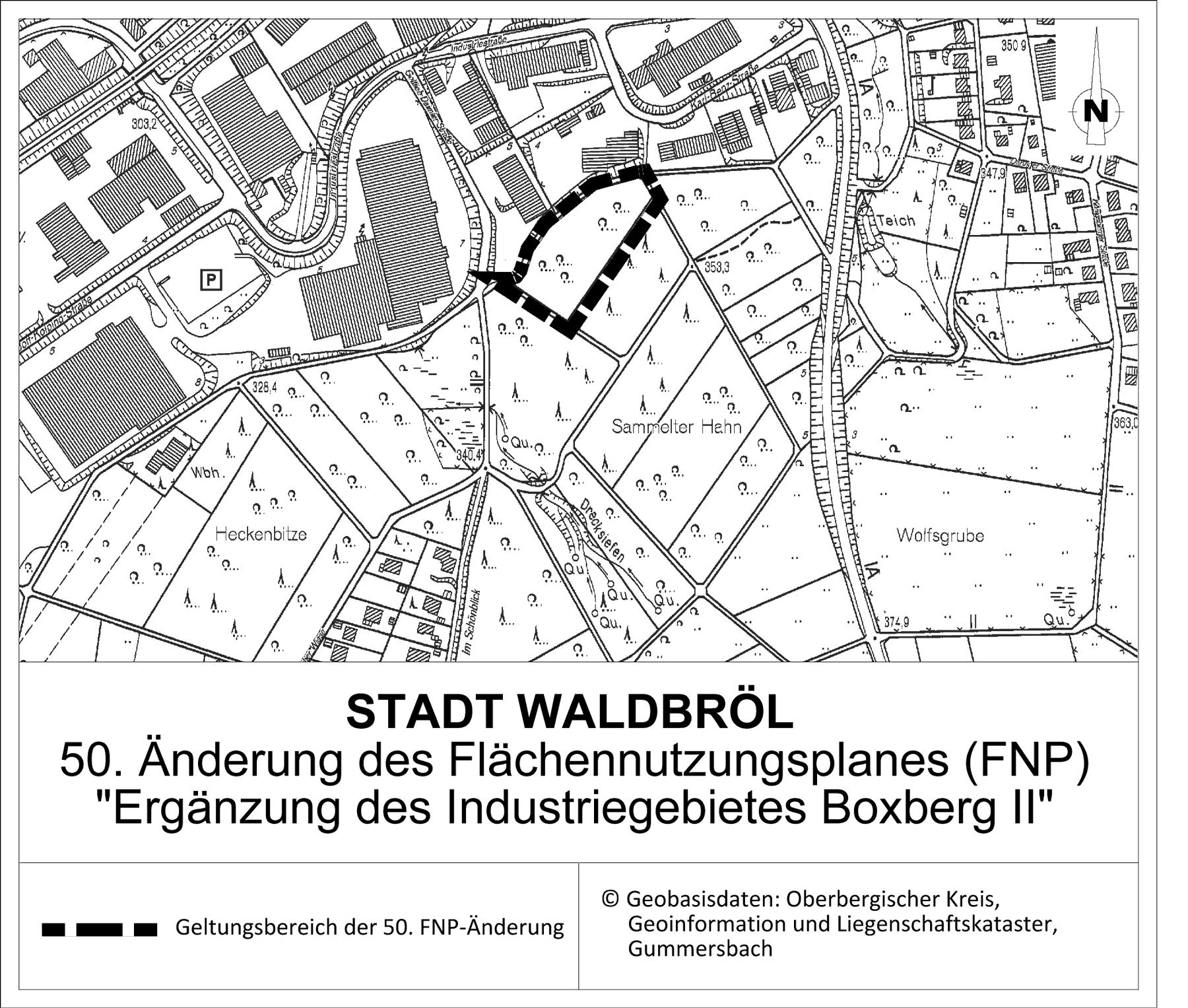 """Inkraftsetzung der 50. Änderung des Flächennutzungsplanes der Stadt Waldbröl """"Ergänzung des Industrie- und Gewerbegebietes Boxberg II"""""""
