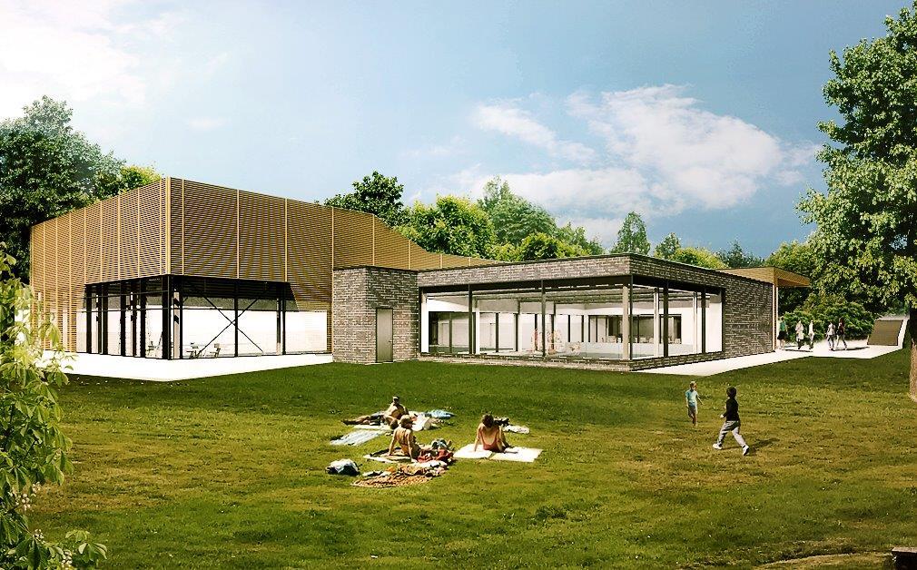 Der Entwurf für das Waldbröler Schwimmbad, Liegewiese - Foto: pos4 ArchitektenDer Entwurf für das Waldbröler Schwimmbad, Eingangsbereich - Foto: pos4 Architekten