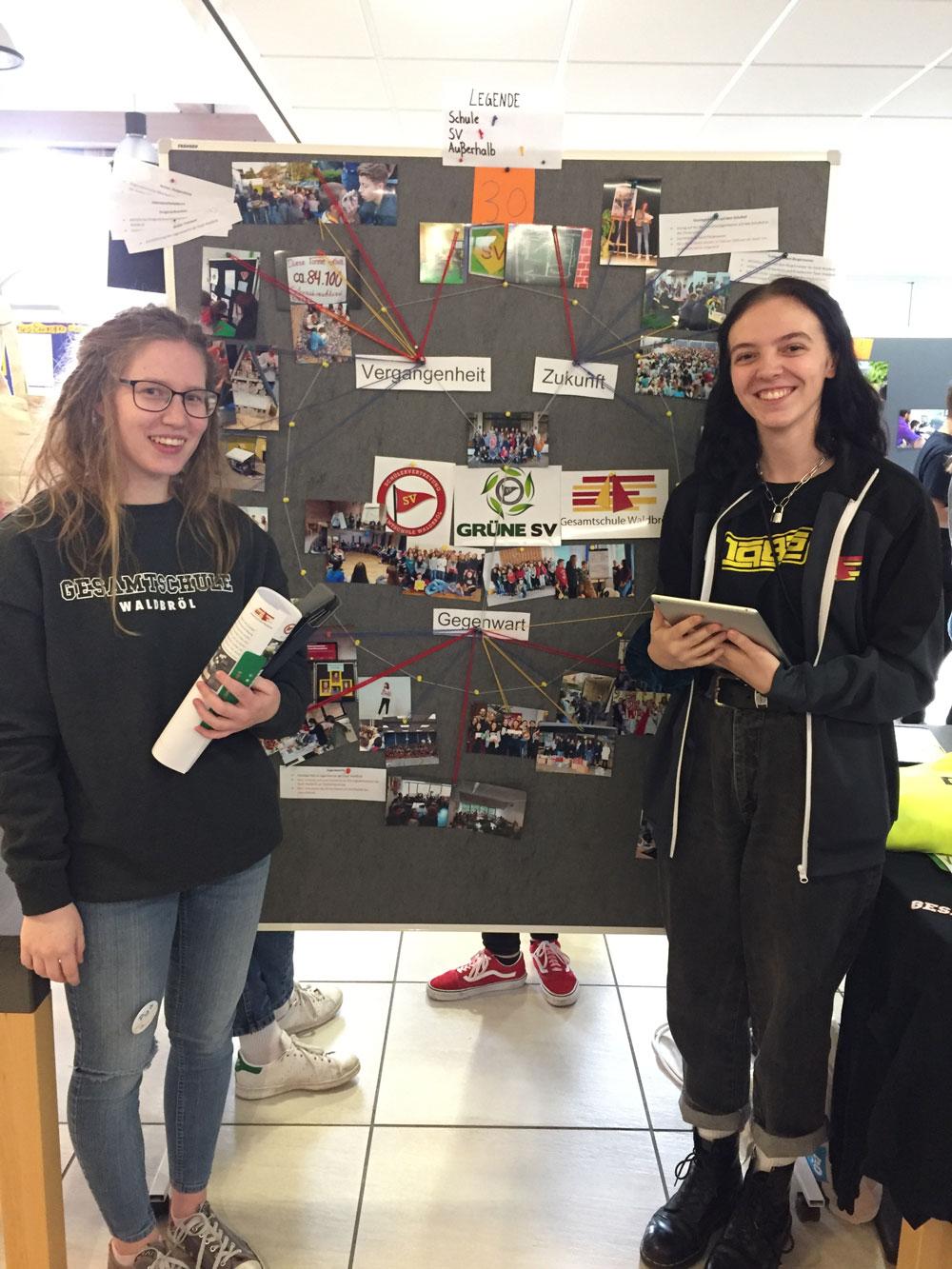 Auf einer regionalen Lernstatt in Hamminkeln stellten Pia Heister (links) und Schülersprecherin Nele Friedrichs die Arbeit des SV-Kernteams vor