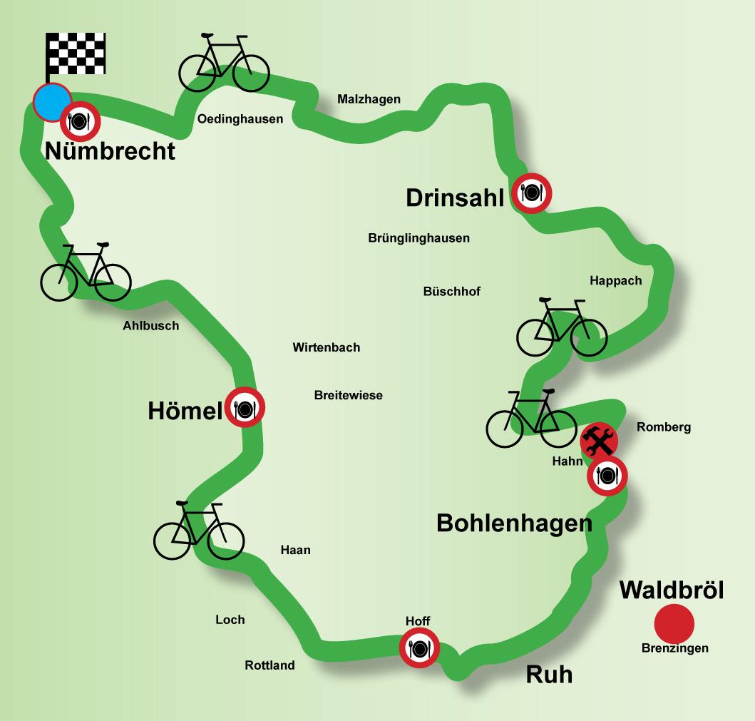 Streckenverlauf des 15. Autofreien Sonntages Waldbröl - Nümbrecht am 27.08.2017