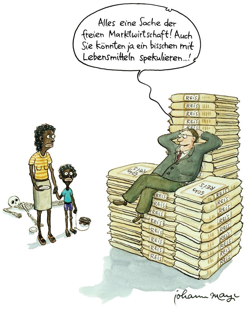 Karikatur zum Thema Marktwirtschaft und Gerechtigkeit