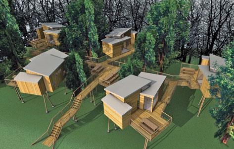 Modellzeichnung von geplanten Baumhäusern im Naturerlebnispark Nutscheid Werbeaktion auf dem Markt seitens Stadt und VVV mit Unterstützung des Bürgerbusvereins Nümbrecht