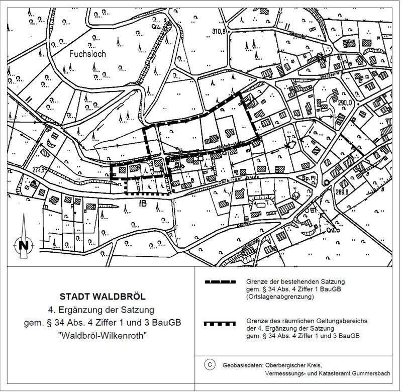 4. Ergänzung der Satzung nach § 34 Abs. 4 Satz 1 Nr. 3 Baugesetzbuch (BauGB) für den im Zusammenhang bebauten Ortsteil Waldbröl-Wilkenroth, Denklinger Straße