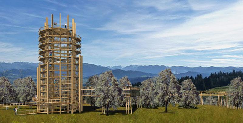 So soll der Baumwipfelpfad und Aussichtsturm im Naturerlebnispark Panarbora aussehen