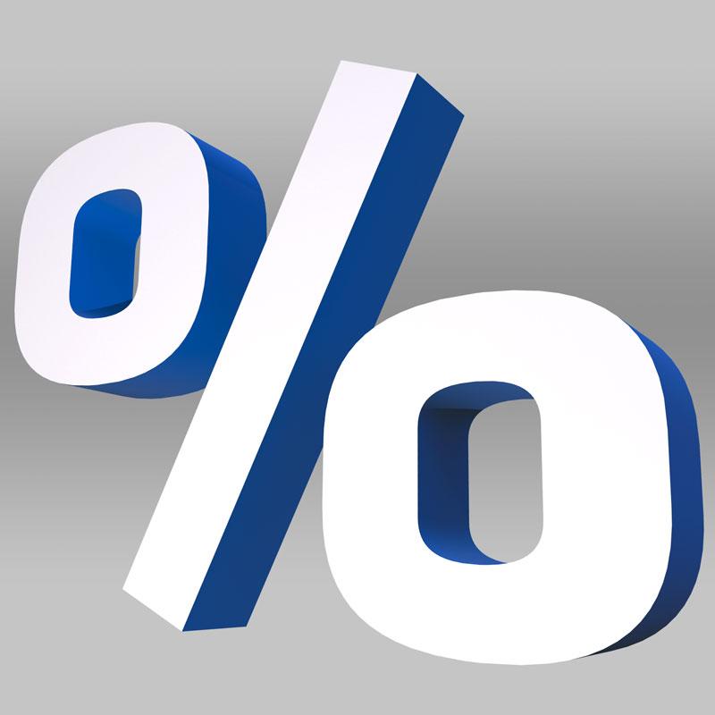 Prozent-Zeichen (Symbolbild)