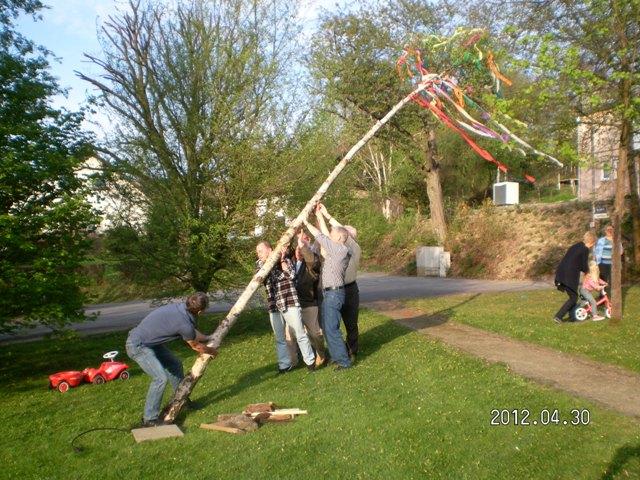 Aufstellen des Maibaums in Wilkenroth Maibaumkrone in Wilkenroth Maifest in Wilkenroth