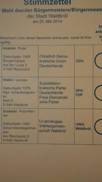 Stimmzettelbeispiel für die Wahl am Sonntag