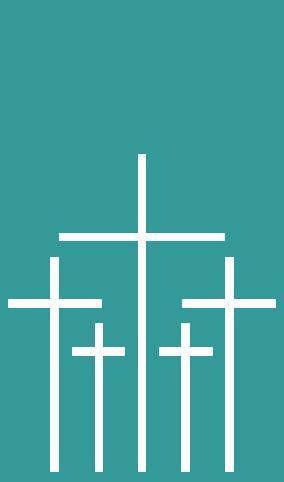 Logo des Volksbundes, weiße Kreuze auf mintfarbenem Grund