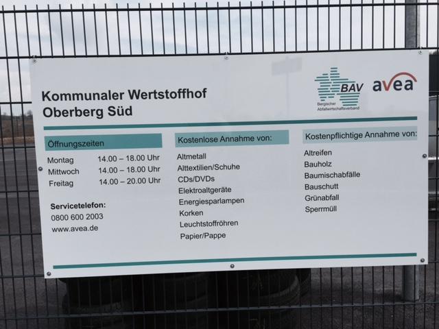 Öffnungszeiten des kommunalen Wertstoffhofes im Gewerbepark Waldbröl