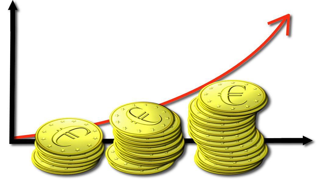 Symbolhaftes Balkendiagramm, das Wachstum darstellt. Im Vordergrund sind Stapel von Euro-Münzen zu sehen