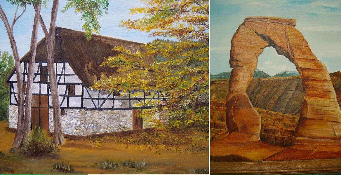 Zwei Bilder der Künstlerin, rechts ein natürlicher Steinbogen aus rotem Sandstein, links ein oberbergisches Fachwerkhaus
