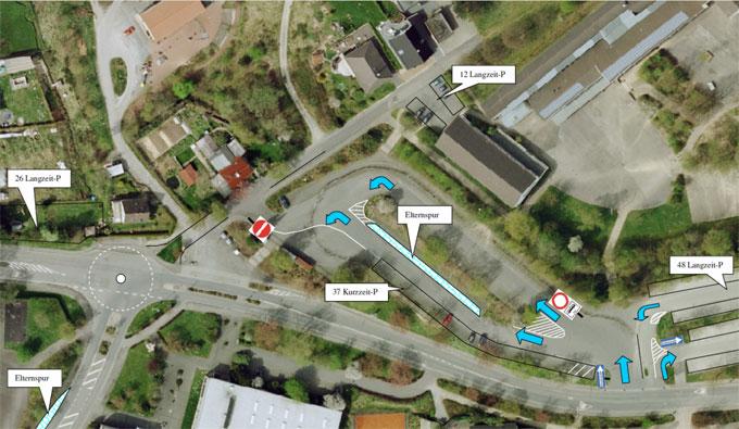 Übersicht des Buswendeplatzes an der Vennstraße mit geplantem Verkehrsfluss