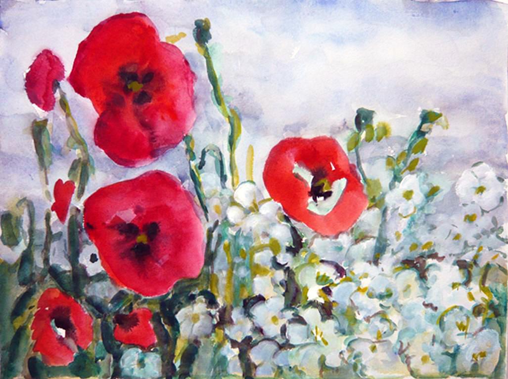 Aquarell von Helga Kempe, das Bild zeigt eine Mohnblume