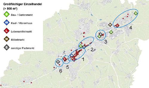 Übersichtsplan der Fachgeschäfte in Waldbröl aus dem Einzelhandelskonzept