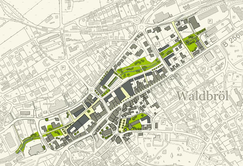 Skizze und Lageplan der aktuellen Innenstadtplanung für Waldbröl