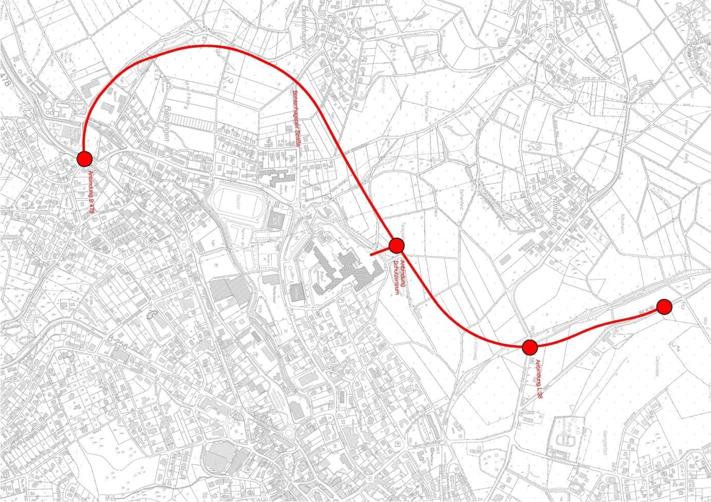 Übersichtskarte Variante 4a der Linienabstimmung K 28 n OU Waldbröl