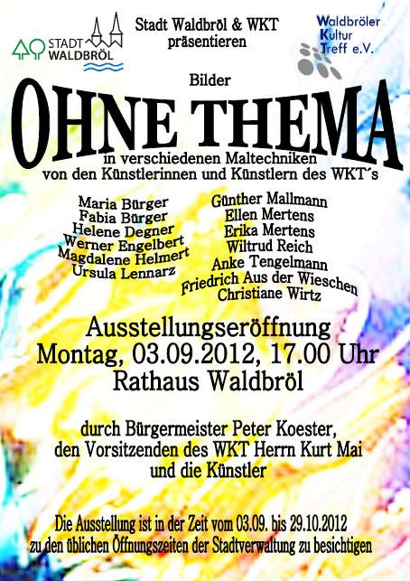 """Plakat zur Ausstellung von Kunst im Rathaus """"Ohne Thema"""""""