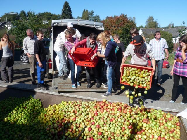 Schüler der Gesamtschule beim Verladen der Äpfel Das gesamte Team der Schülerfirma nature mit ihren Lehrern und Bürgermeister Koester