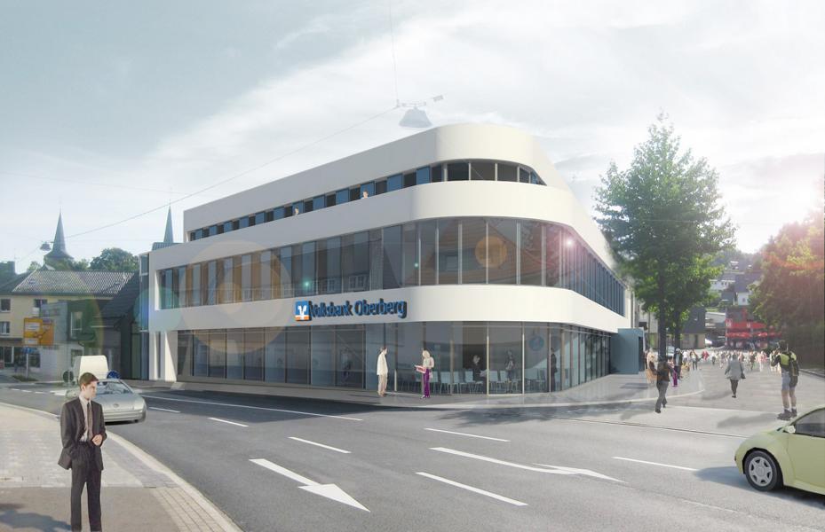 """Der Entwurf für die """"neue Ecke"""" zwischen Marktstraße und KaiserstraßeSo sah das inzwischen abgerissene Gebäude an der Ecke aus der gleichen Perspektive aus"""