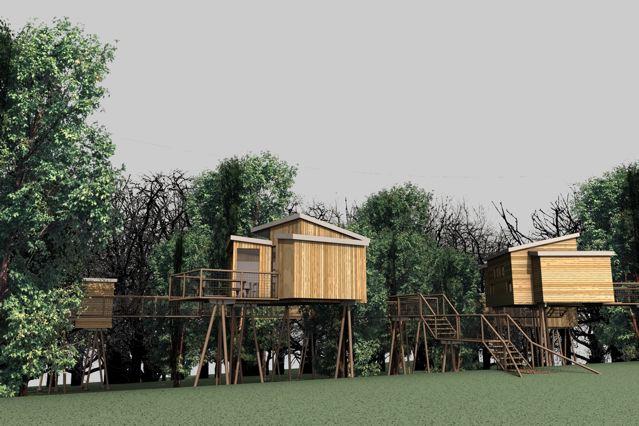 Entwurf von Baumhäusern im geplanten Naturerlebnispark Panarbora