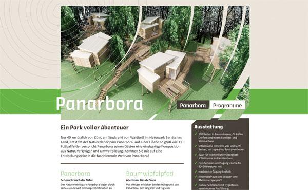 Bildschirmabbild der neuen Internetseite von Panarbora