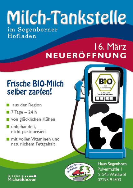 Milch-Tankstelle im Segenborner Hofladen - 16. März Neueröffnung - Frische BIO-Milch selber zapfen! - aus der Region - 7 Tage – 24 Stunden - von glücklichen Kühen - unbehandelt, nicht pasteurisiert - mit vollen Vitaminen und natürlichem Fettgehalt -  Kontrolliert durch DE-ÖKO-006 Kontrollstelle - Haus Segenborn - Pulvermühle 1 - 51545 Waldbröl - 02295 91800
