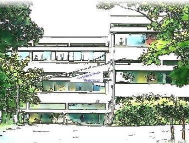 Illustration des Hauptgebäudes der Gesamtschule Waldbröl