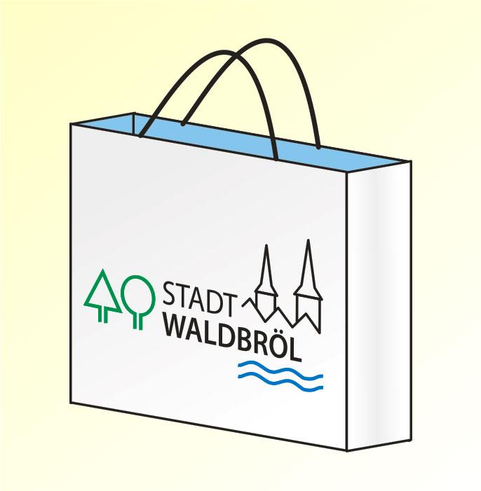 Zeichnung einer Einkaufstasche mit der Aufschrift Stadt Waldbröl