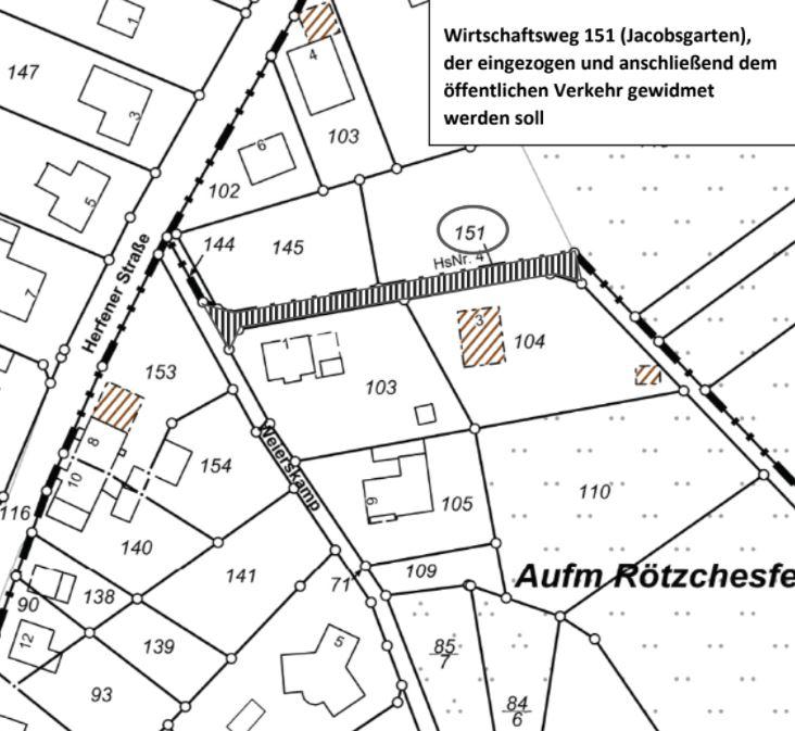 """Öffentliche Bekanntmachung über die Absicht zur Einziehung des Wirtschaftsweges """"Jacobsgarten"""" in Herfen"""