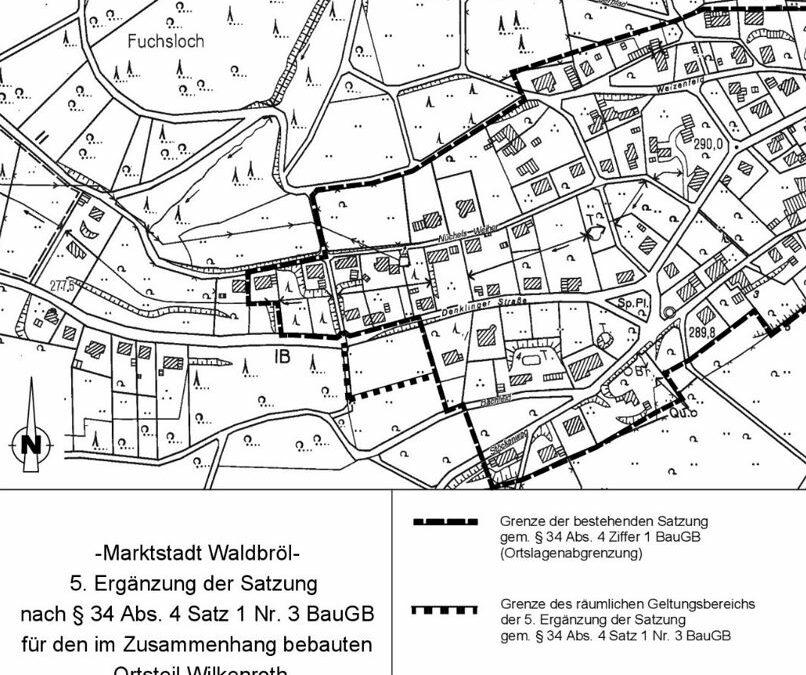 5. Ergänzung der Satzung für den im Zusammenhang bebauten Ortsteil Waldbröl-Wilkenroth